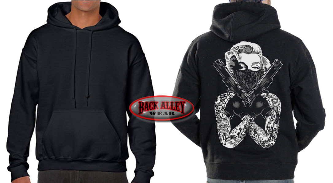 Marilyn Monroe Gangster Tattoo Guns Crossed Pistols Hooded Sweatshirt Hoodie L