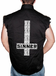Sinner Sleeveless Denim Shirt