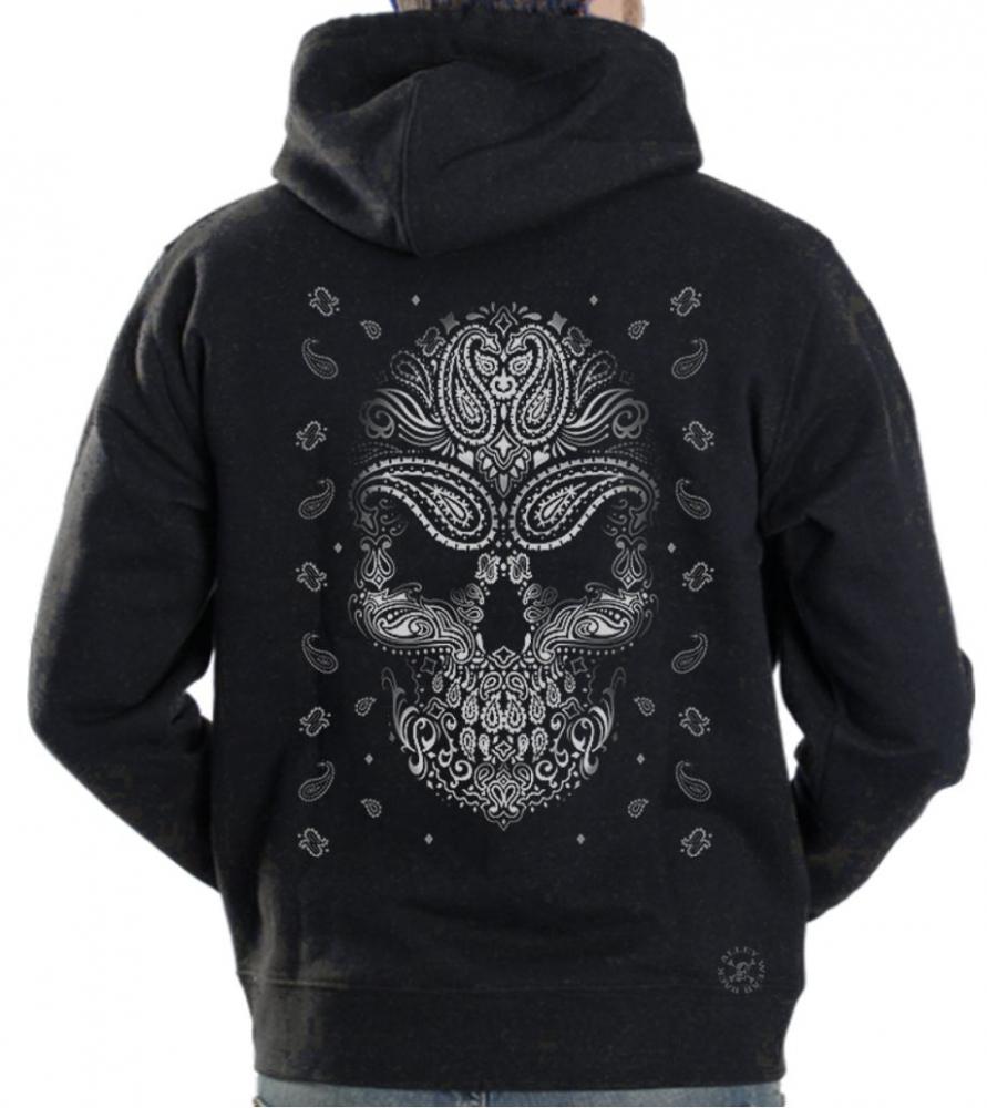Bandana Skull Hoodie Sweat Shirt Back Alley Wear