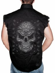 Bandana Skull Sleeveless Denim Shirt