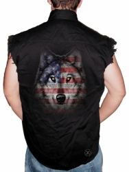 Wolf Howl Americana Sleeveless Denim Shirt