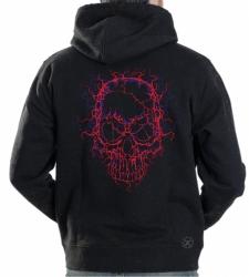 Neon Cracked Skull Hoodie Sweat Shirt