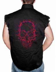 Neon Cracked Skull Sleeveless Denim Shirt