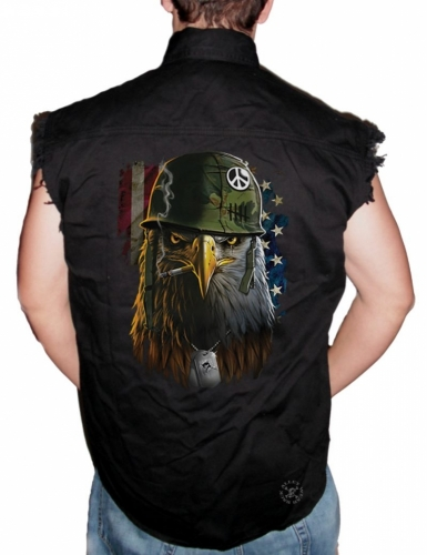 American Warrior Eagle Sleeveless Denim Shirt