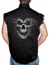 Cyborg Skull Sleeveless Denim Shirt