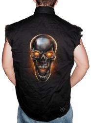 Metal Skull Sleeveless Denim Shirt