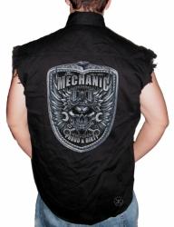 Mechanic Skull Sleeveless Denim Shirt