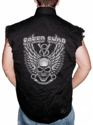 Speed Shop Skull Sleeveless Denim Shirt