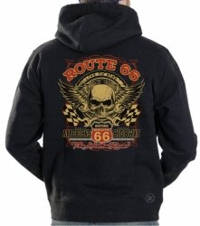 Route 66 Skull Hoodie Sweat Shirt
