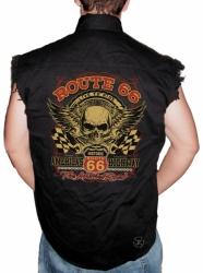 Route 66 Skull Sleeveless Denim Shirt