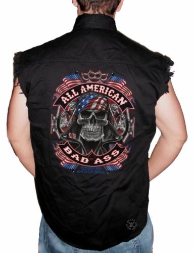 All American Bad Ass Sleeveless Denim Shirt
