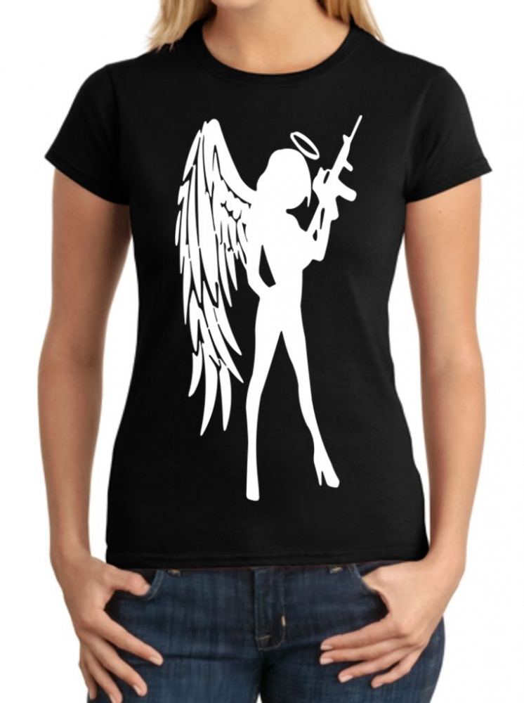 ANGEL Girl w// AR-15 T-SHIRT 2nd Amendment Gun Rights Tee ~ Pin Up Babe AR15