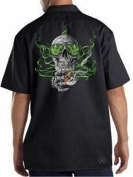 Weed Skull Work Shirt