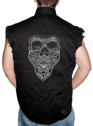 Luctus Bandana Skull Sleeveless Denim Shirt