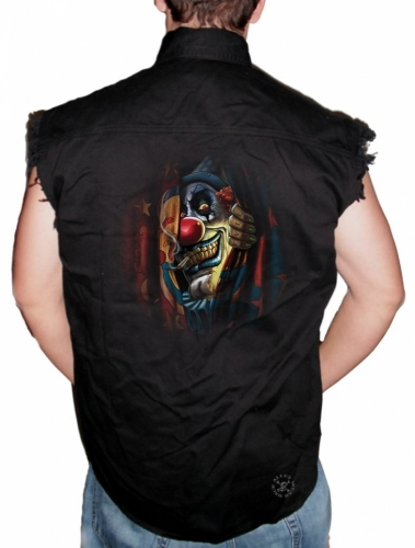 Circus Clown Sleeveless Denim Shirt