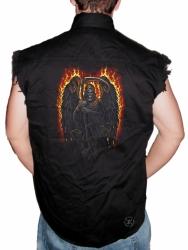 Fire Reaper Sleeveless Denim Shirt