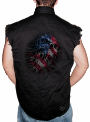 US Flag Skull Sleeveless Denim Shirt
