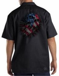 US Flag Skull Work Shirt