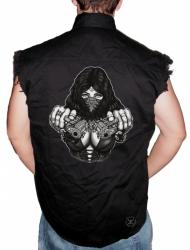 Gangster Girl w/ Guns Sleeveless Denim Shirt