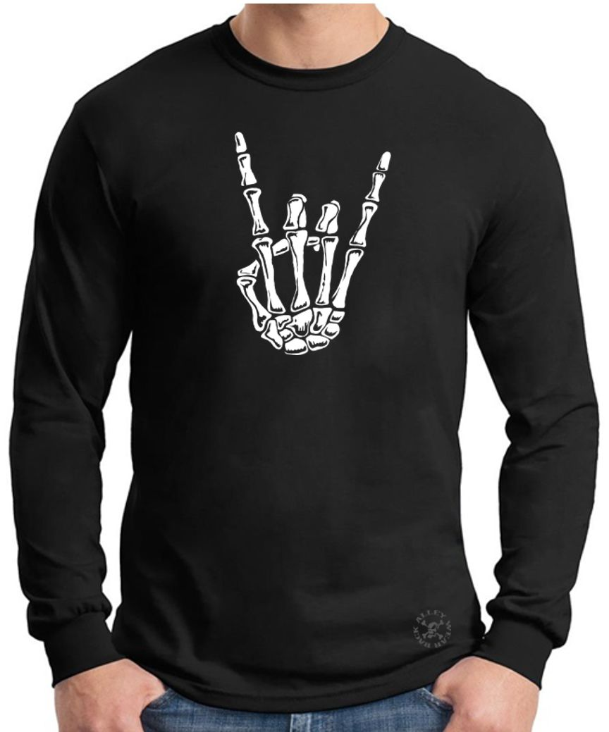 "Metal Music /""Rock On/"" Hand Symbol Long Sleeve T-Shirts Mens Tee"