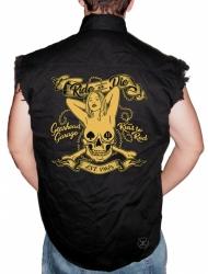 Ride or Die Gearhead Garage Sleeveless Denim Shirt