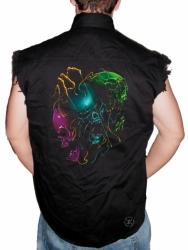Melting Evil Skulls Sleeveless Denim Shirt