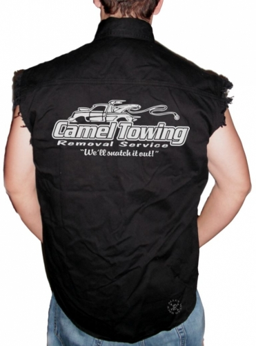 Camel Towing Sleeveless Denim Shirt