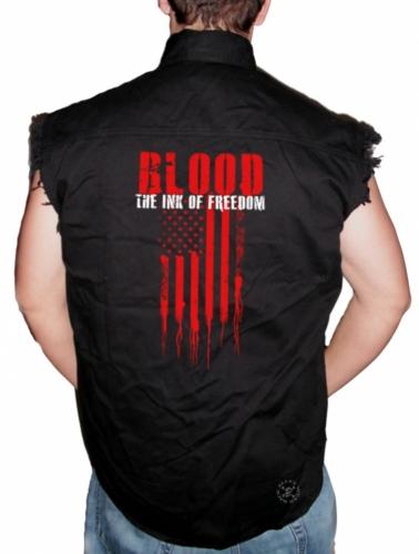 Blood The Ink of Freedom Sleeveless Denim Shirt