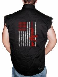 Rifle Flag & Bullets Sleeveless Denim Shirt