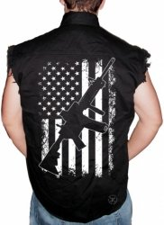 AR15 American Flag Sleeveless Denim Shirt