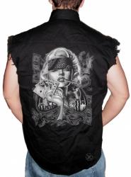 Marilyn Sexy Gangster Sleeveless Denim Shirt