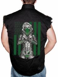 Marilyn Weed Flag Sleeveless Denim Shirt
