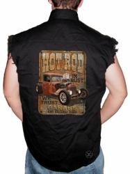 Hot Rod In Rust We Trust Sleeveless Denim Shirt