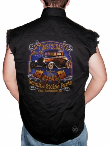 Coast 2 Coast Hot Rod Garage Sleeveless Denim Shirt