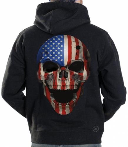 American Patriot Skull Hoodie Sweat Shirt