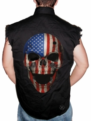 American Patriot Skull Sleeveless Denim Shirt