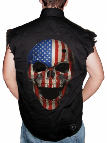 American Patriot Skull Sleeveless Denim Shirt