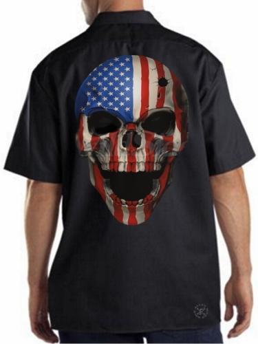 American Patriot Skull Work Shirt