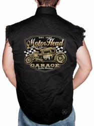 Motor Head Garage Sleeveless Denim Shirt