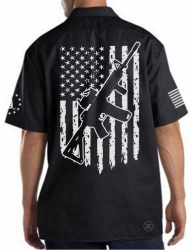 AR15 American Flag Work Shirt