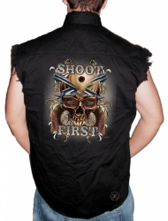 Shoot First Skull Sleeveless Denim Shirt