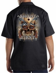 Shoot First Skull Work Shirt