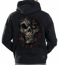 Red Cyborg Skull Hoodie Sweat Shirt