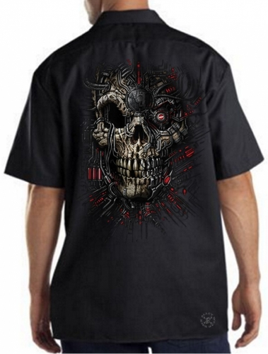 Red Cyborg Skull Work Shirt