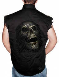 Skull Tear Sleeveless Denim Shirt