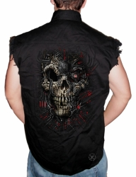Red Cyborg Skull Sleeveless Denim Shirt