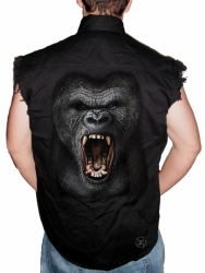 Gorilla Roar Sleeveless Denim Shirt