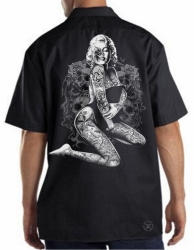 Marilyn Skull Pose Work Shirt