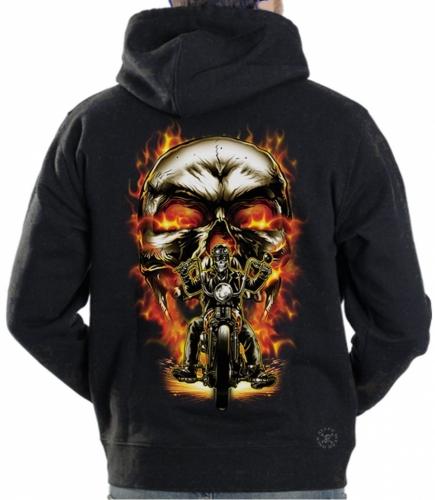 Biker Skull Hoodie Sweat Shirt