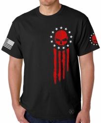 American Flag Blood Skull T-Shirt